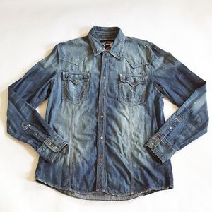 Men's True Religion Button Down Denim Shirt XXXL